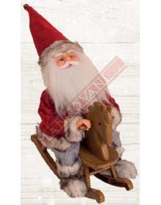 Babbo Natale con movimento su cavallo a dondolo h.35 cm cod. FL 061296