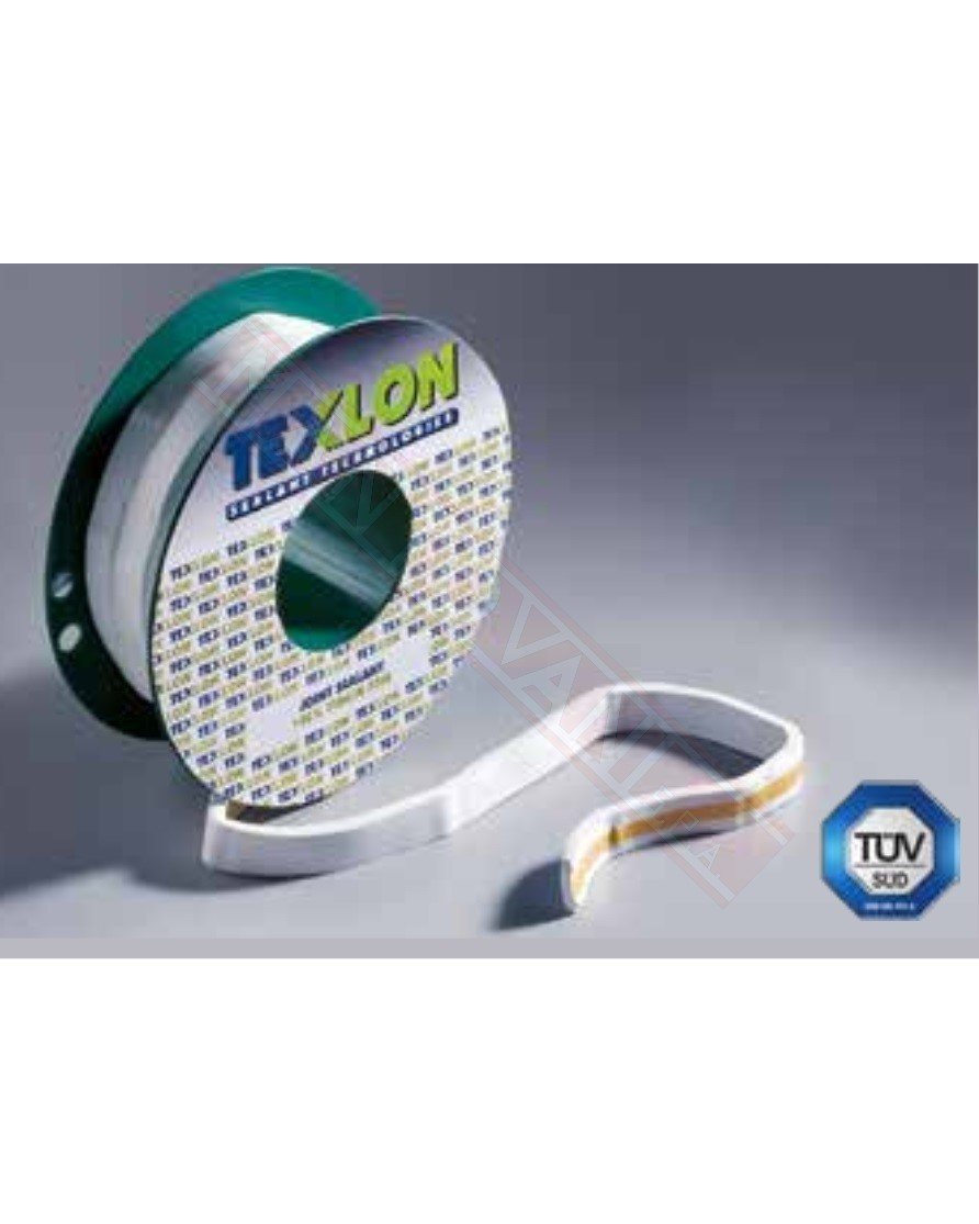 Guarnizione a nastro di texlon 14mm x5 mm temparature -240+248 gradi ph 0 14 materiale 100% teflon si vende a multipli di 1 m