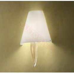 Vistosi Goccia applique con paralume in vetro bianco e stelo in cristallo  oro 24k cm 24 sp 12 h 38 1xe27